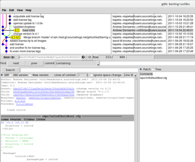Cropped screenshot of gitk showing leaf/bering-uclibc Git repository for Bering-uClibc 4.1